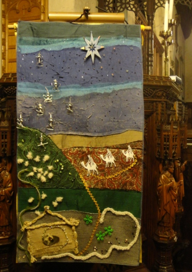 Right through the season of Christmas and Epiphany the 'star of wonder' banner created by our Craft Group and children graced the pulpit; the star itself a gift from our Big Story after school club.